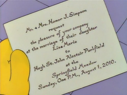 Invitación boda de Lisa Simpson 2010