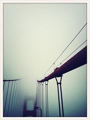 Low-Hanging Fog (Kobold Studios) Tags: sanfrancisco california ca bridge fog grey gray goldengatebridge iphone iphone4 goldengatebridgeiphoneiphone4fogsanfranciscocaliforniacrossprocess