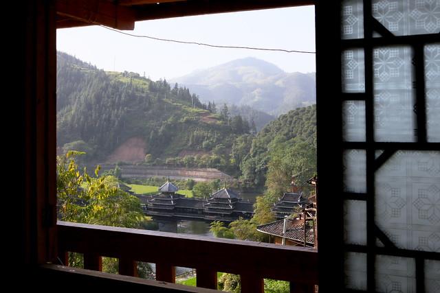 Chengyang Wind and Rain bridge from the window, Guangxi, China
