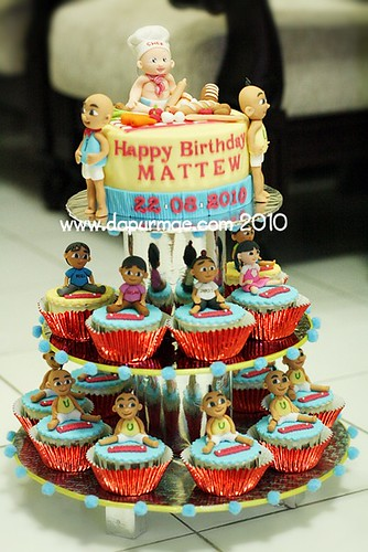 Upin Ipin Birthday Cake Set