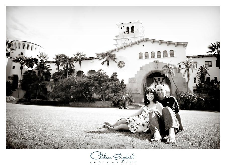 Santa Barbara Sunken Gardens engagement picture