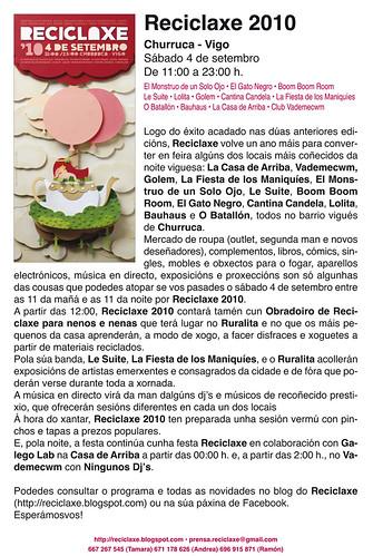 reciclaxe 2010. nota de prensa
