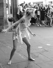 Fringe 2010 - lady performer on the Mile 01 (byronv2) Tags: blackandwhite bw woman hot sexy girl monochrome scotland blackwhite breasts edinburgh tits legs boobs candid lingerie royalmile oops cleavage jugs performer oldtown revealing 2010 knockers downblouse edinburghfestivalfringe