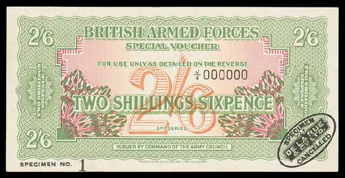 British Armed Forces, Special Vouchers