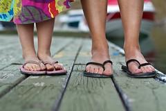 Day 018 (Joel_C) Tags: wood feet closeup boat dock dress legs dusk flip flops colourful