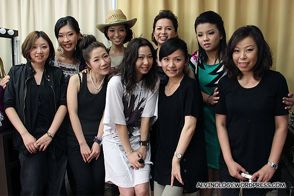 The bloggers with the make up artists and Celia Wong