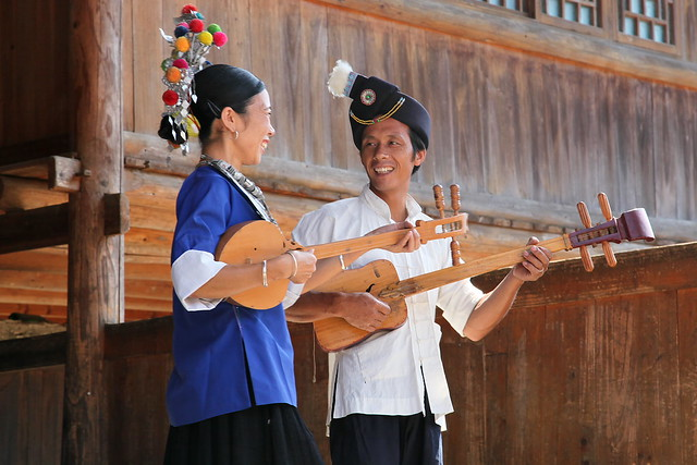 Playing the music with smile, Chengyang, Guangxi, China
