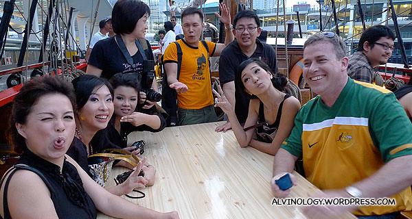 Happy bloggers on board the Bounty