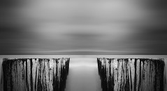 Groynes-IV (DolliaSH) Tags: longexposure sea blackandwhite bw seascape holland blanco beach monochrome strand canon topf50 negro nederland thenetherlands noordzee zeeland zee northsea topf100 nordsee groynes 1755 domburg zeewering zwartenwit 50d nd110 canoneos50d dollia dollias sheombar dolliash bw10stopsolidndfilter