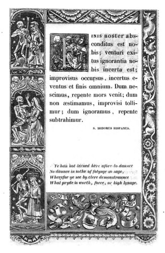 017- Letra F -The celebrated Hans Holbein's alphabet of death, illustr. with old borders ...1856