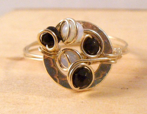 Cobblestone 14K gold filled ring with moonstones and onyx semiprecious stones