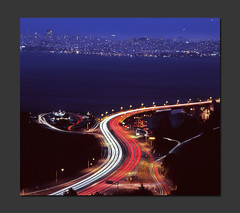 San Francisco, Squared (RZ68) Tags: sanfrancisco bridge blue light skyline night mediumformat golden bay gate san francisco long exposure trails 101 velvia goldengatebridge hour goldengate headlands streaks provia ggb e100 rz68