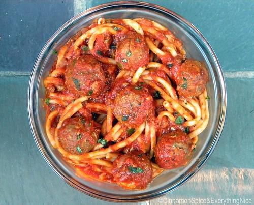 Mozzarella Stuffed Meatballs and Bucatini