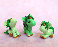 Green Baby Unicorns (DragonsAndBeasties) Tags: sculpture cute green statue gold leaf rainbow magic tail small chibi mint polymerclay fimo fantasy gift tiny kawaii daisy sculpey lime etsy custom figurine unicorn mane premo ittybitty