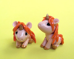 Orange Baby Unicorns (DragonsAndBeasties) Tags: sculpture orange cute statue butterfly gold rainbow magic tail small chibi polymerclay fimo fantasy gift tiny kawaii daisy sculpey etsy custom figurine unicorn mane premo ittybitty