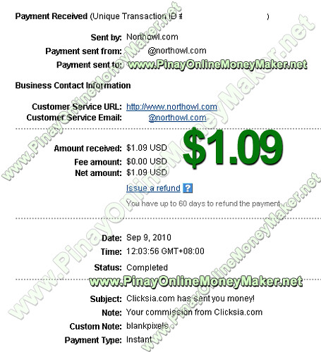Clicksia Payment Proof - $1.09 on September 9, 2010 - PinayOnlineMoneyMaker.net