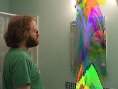 a mirror glitchily