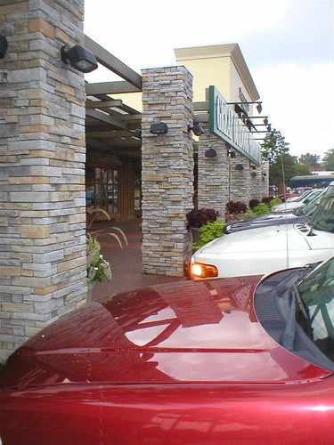 artificial stone veneer used to build stone columns outside stores at Cameron Village in Raleigh, North Carolina