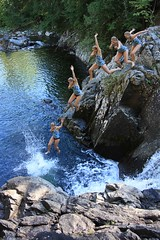 Cliff Jumping at Split Rock Falls (Waterfall Guy) Tags: newyork waterfall jumping action upstate adirondacks splash sequence swimminghole splitrockfalls canonxsi