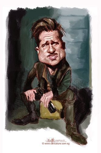 digital caricature of Brad Pitt - 1small