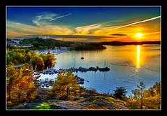 Sunset over Vinterviken (T-Slyce) Tags: travel autumn sunset lake reflection water bay sweden stockholm hdr mlaren vinterviken aspudden d80 cs5 hdrpro mygearandmepremium mygearandmebronze mygearandmesilver mygearandmegold mygearandmeplatinum mygearandmediamond