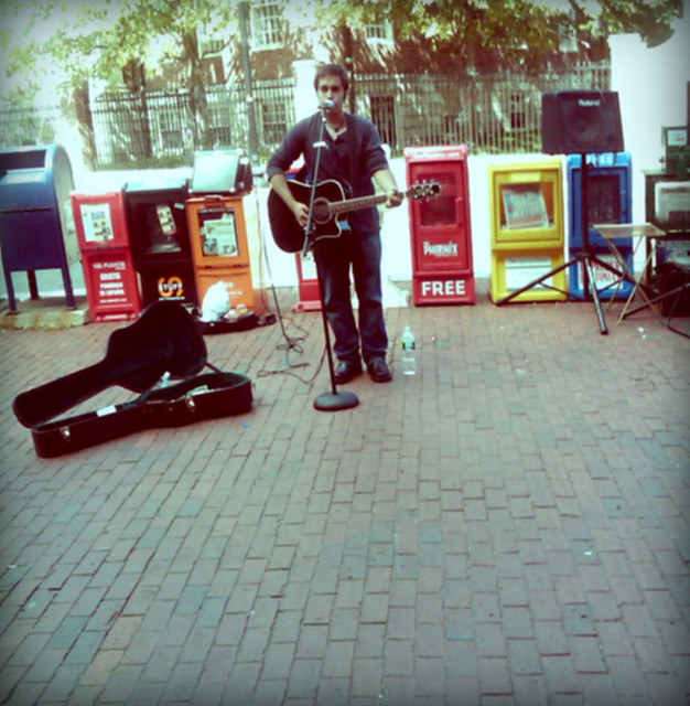 a busker in harvard square