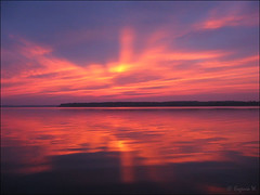 Sunset on Sturgeon Lake (Genie W.) Tags: lake reflections sunsets canonpowershots45