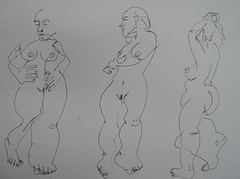 Las 2010, standing 01 (Dona Mincia) Tags: bw woman art paper nude drawing study gesture quick inkpen unb fromlife