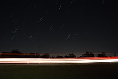 Day 14 - Shell of Light (deudbus) Tags: road longexposure trees sky cars night stars lighttrails startrails canonrebelxsi