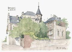 """Berneau, le """"Borcht"""" (gerard michel) Tags: architecture sketch belgium aquarelle watercolour visé croquis berneau"""