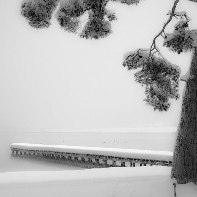 雪景色桟橋 ~木崎湖キャンプ場