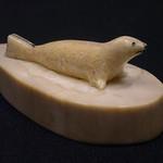 """<b>Seal on Base</b><br/> Unknown, Eskimo American (ivory, ca. 1974) LFAC#2008:01:18<a href=""""http://farm5.static.flickr.com/4129/4996387169_8084a60468_o.jpg"""" title=""""High res"""">∝</a>"""