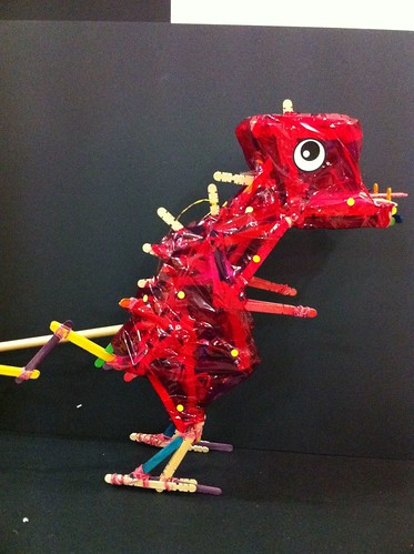 Dinosaur made of ice cream sticks & rubber bands