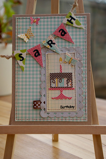 Bunting and Butterflies Birthday Card