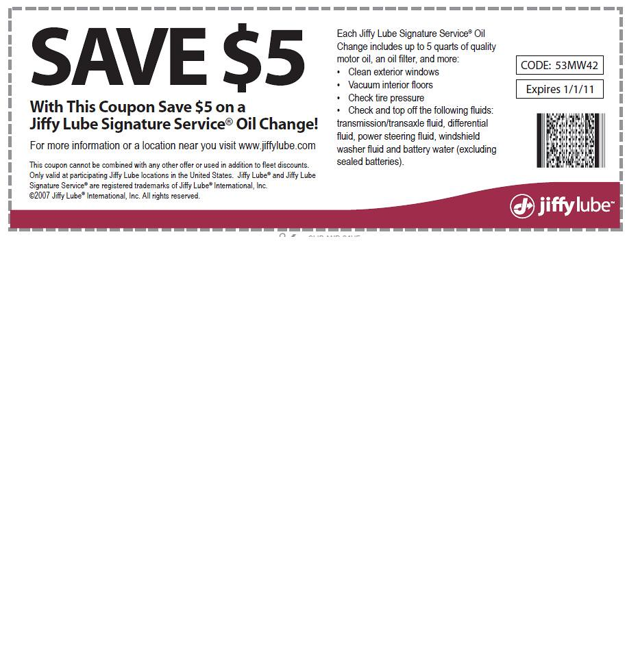 Jiffy lube coupons printable