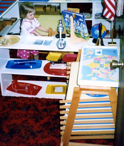 Christina (2) in the cultural area of our homeschool, 1992.