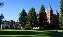 campus view of Main Hall and the Roe House