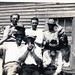 Mr. Fortner, Arthur & Papa (Oscar Black), Charlie C. Joe Harlow, and Babe (Stivers), Sister and Nellie Cook on left; Nellie Stivers on right