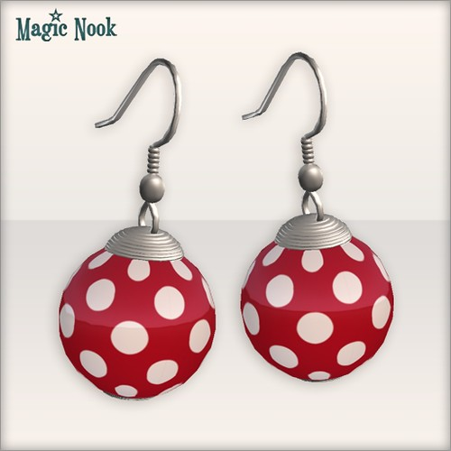 [MAGIC NOOK] Shoo Be Doo Set - Earrings (Red) Close Up