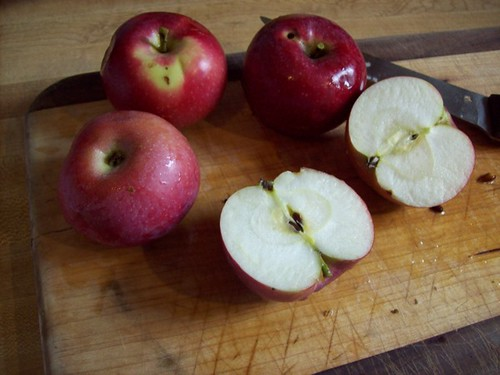 Slicing and coring organic apples for apple butter