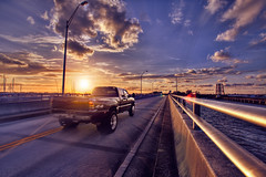 Truck Crossing Bridge - Stuart, Florida (Captain Kimo) Tags: bridge sunset digital photoshop truck 4x4 florida stuart highdynamicrange hdri photomatix hdrphotography topazadjust
