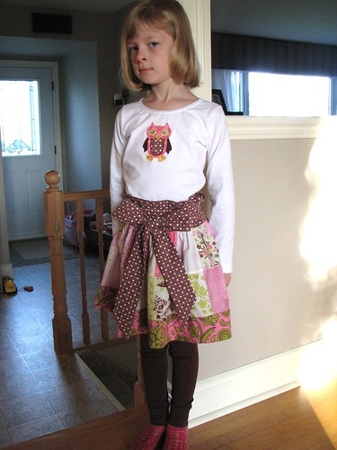 Patchwork Skirt and Owl T-shirt