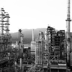 Burnaby (tcoen) Tags: bw film bc bronica oil burnaby refinery sqb