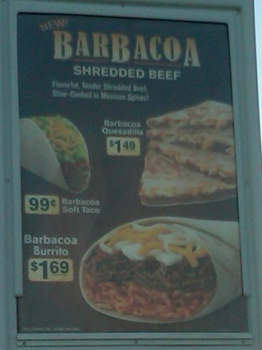 Barbacoa items at Taco Bell