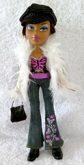 Bratz Formal Funk Nevra Doll (migglemuggle) Tags: 2003 white black hat fur beige doll coat formal cream jeans funk handbag bratz nevra