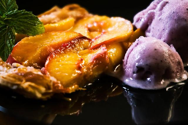 Nectarine Tart and Saskatoon Berry Sorbet