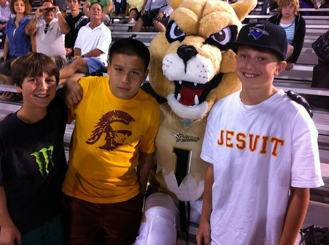 With the Mountain Lions Mascot