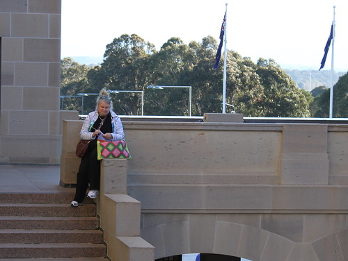 Knitting at the War Memorial