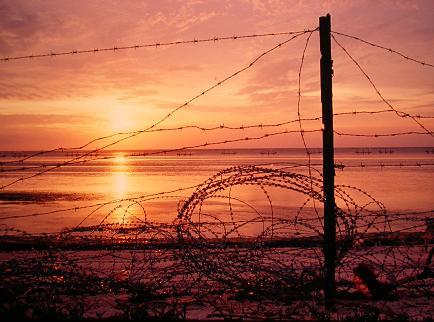 東沙防禦鐵網夕陽;圖片來源:環境影像部落格