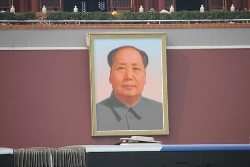Mao en la plaza de Tian'anmen en Pekín